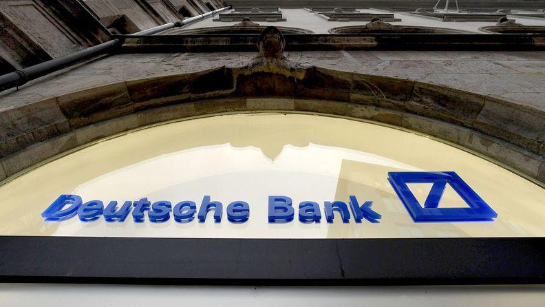 A logo on a Deutsche Bank bank branch in Munich on Feb. 3, 2021