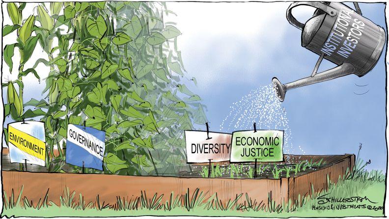 Diversity & economic justice in institutional investing cartoon