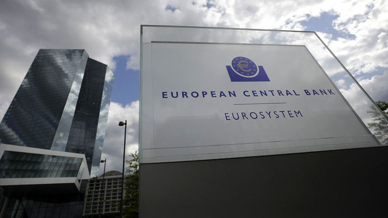 A Eurosystem monetary authority sign outside the European Central Bank headquarters in Frankfurt on April 29, 2020