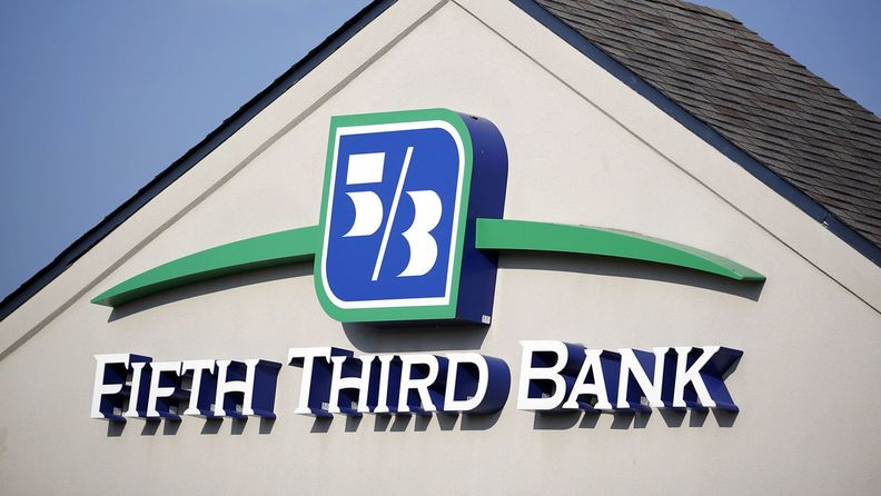 A Fifth Third Bancorp sign as a branch in Louisville, Ky.