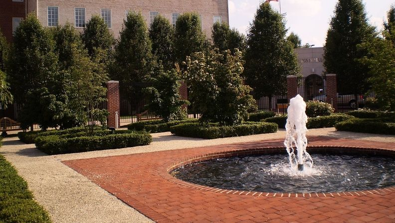 The fountain in front of the Riggs Alumni Center at the University of Maryland College Park