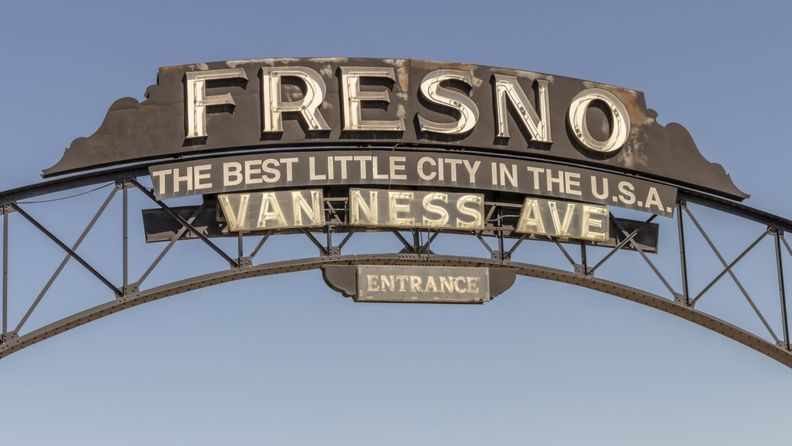 Sign that reads: Fresno, the best little city in the USA