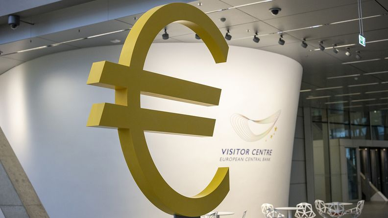 A euro currency symbol on display in the visitor center at the European Central Bank building in Frankfurt