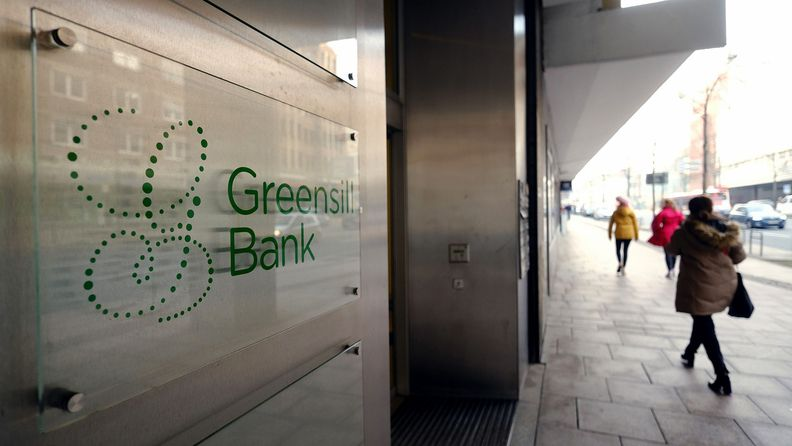 A logo outside the Greensill Bank offices in Bremen, Germany, on March 3, 2021