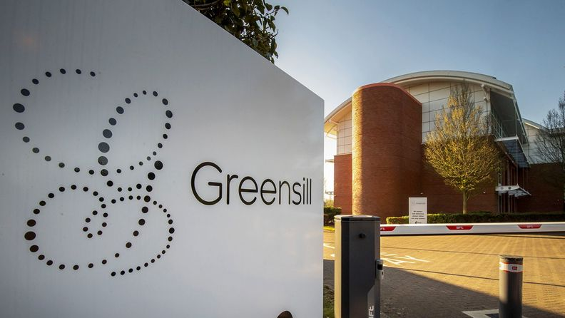 The Greensill logo on a sign with a bulding in the background