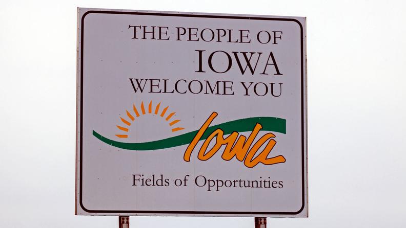 Welcome to Iowa sign stock photo