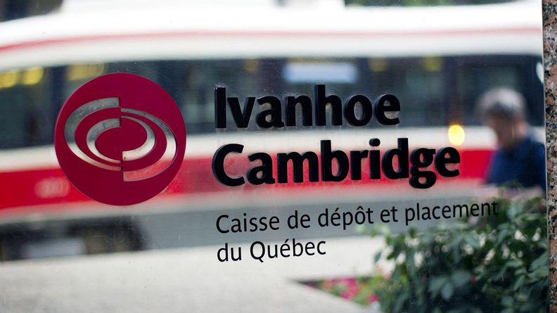 Ivanhoe Cambridge Inc. signage is displayed outside the company's office near Bay Street in Toronto on Aug. 29, 2011