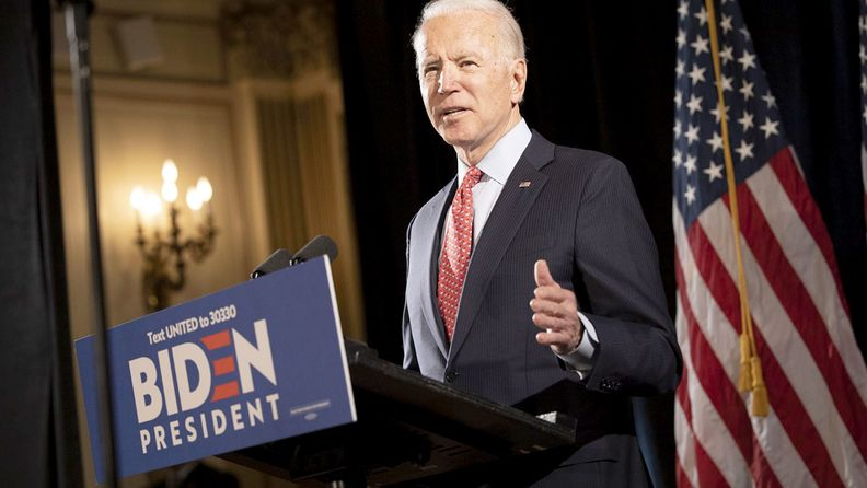 Former Vice President Joe Biden, 2020 Democratic presidential candidate, speaks during a news conference in Wilmington, Del., on March 12, 2020.