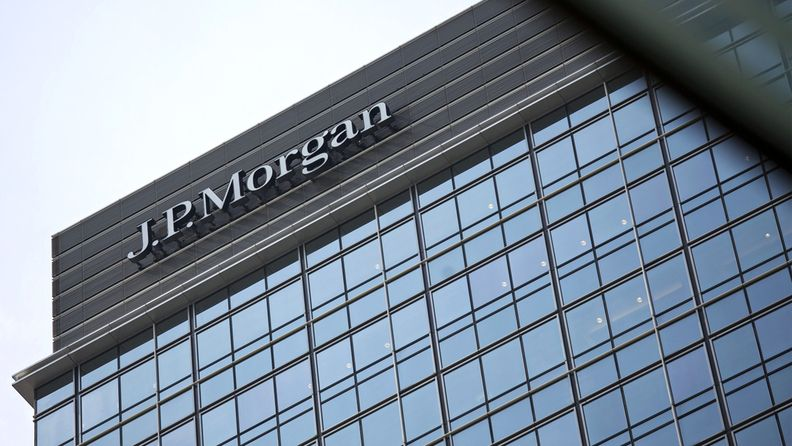 J.P. Morgan sign atop Chater House in the central business district of Hong Kong
