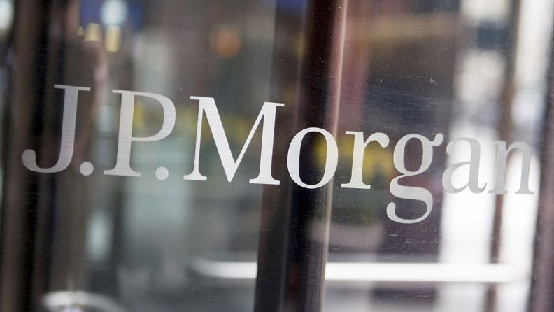 A J.P. Morgan is displayed on a door in New York on April 14, 2009