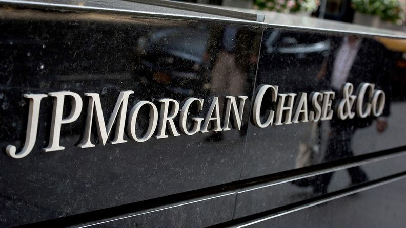 A J.P. Morgan Chase & Co. sign outside the bank's offices in Manhattan