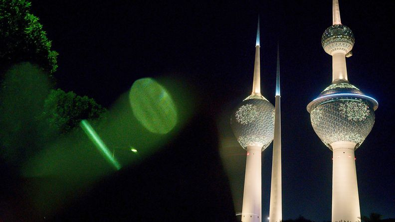 Lights illuminate the Kuwait Towers at night in Kuwait City on Aug. 14, 2017.
