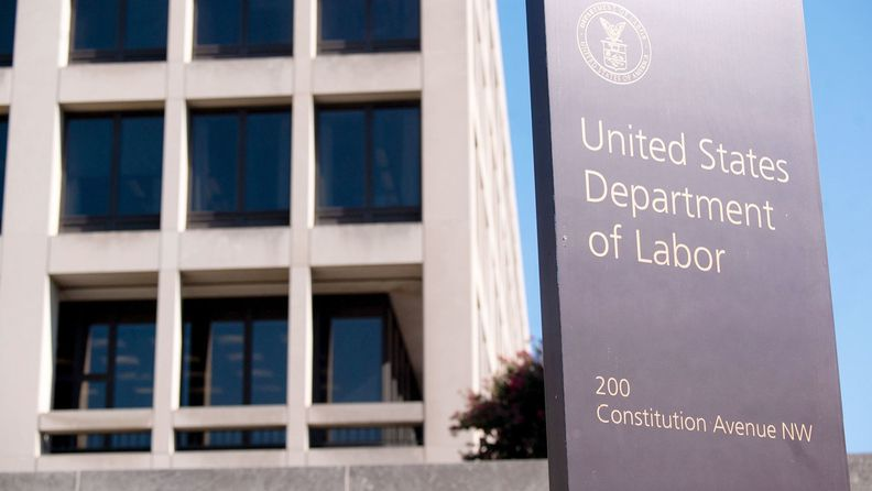 A sign outside the Labor Department building in Washington on Aug. 18, 2020.