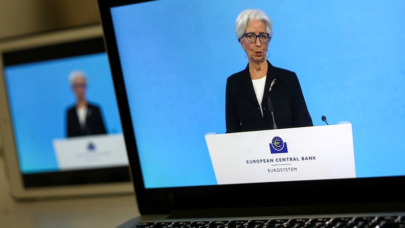 Christine Lagarde, president of the European Central Bank, speaks during a live stream video of the central bank's virtual rate decision news conference in Frankfurt on Thursday