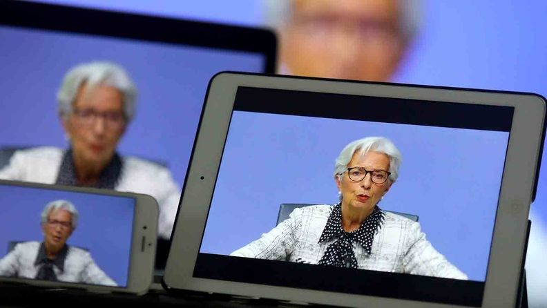 Christine Lagarde, president of the European Central Bank, speaks during a live stream video of the central bank's virtual rate decision news conference in Frankfurt on Oct. 29, 2020