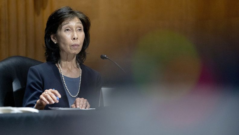 Nellie Liang, under secretary of the U.S. Treasury nominee for President Joe Biden, listens during a Senate Finance Committee confirmation hearing in Washington on May 25, 2021