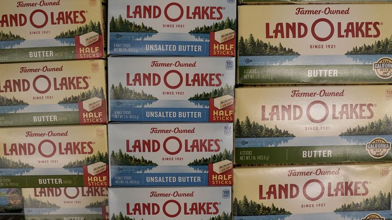 Land O'Lakes Inc. brand butter is displayed for sale inside an Albertsons Cos. Vons grocery store in San Diego