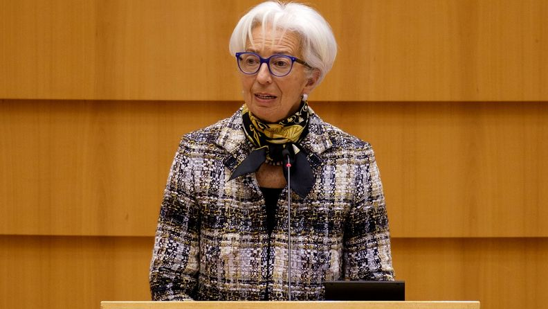 Christine Lagarde, president of the European Central Bank, addresses the European Parliament in Brussels