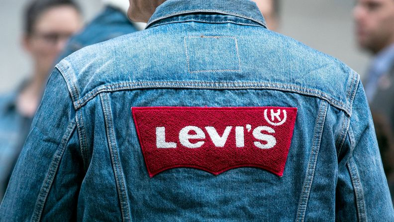 A Levis Strauss & Co. jacket is worn during the company's initial public offering at the New York Stock Exchange in 2019