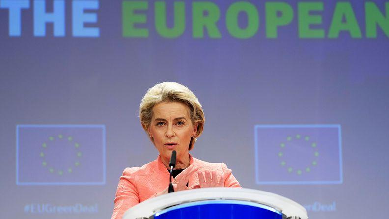 Ursula von der Leyen, president of the European Commission, speaks as the European Union unveils a landmark climate plan in Brussels on July 14, 2021