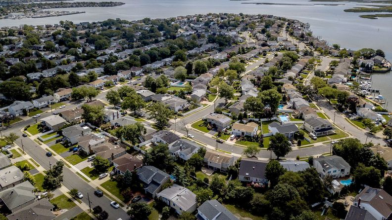 Homes near the coast in an aerial photograph taken over Merrick, N.Y.
