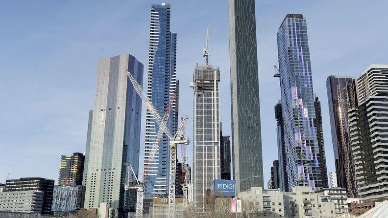 Cranes stand in Melbourne, Australia, on Sept. 1, 2020