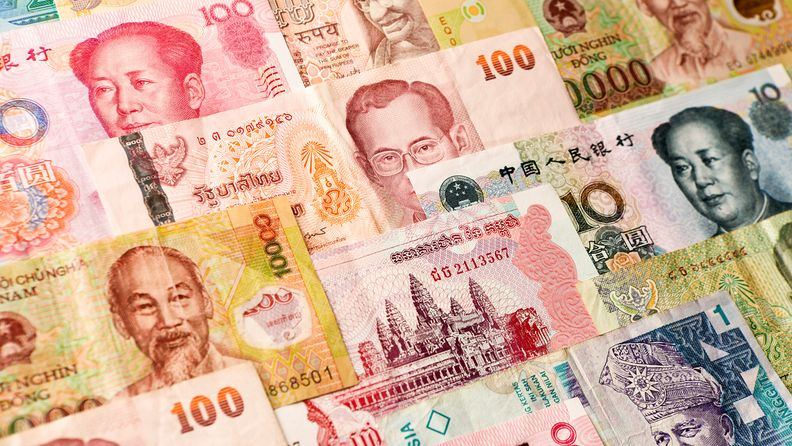 A colorful variation and collection of international currency