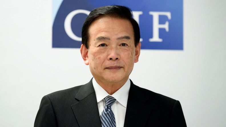 Masataka Miyazono, president of the Government Pension Investment Fund, at a Tokyo news conference on July 3, 2020.