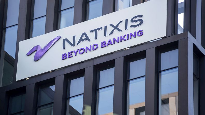 The Natixis logo on a sign outside the company's headquarters in Paris on June 29, 2019