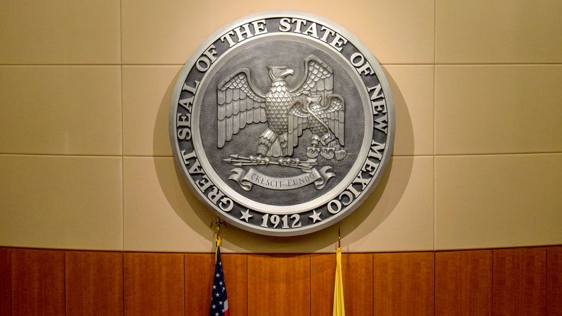 The Great Seal of the State of New Mexico in the House of Representatives chamber within the New Mexico State Capitol in Santa Fe