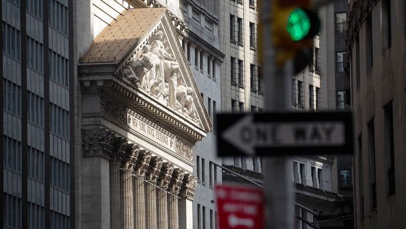A streetlight in front of the New York Stock Exchange, July 20, 2020