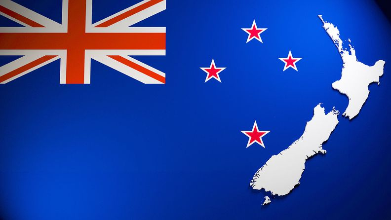 Extruded map of New Zealand on national flag background