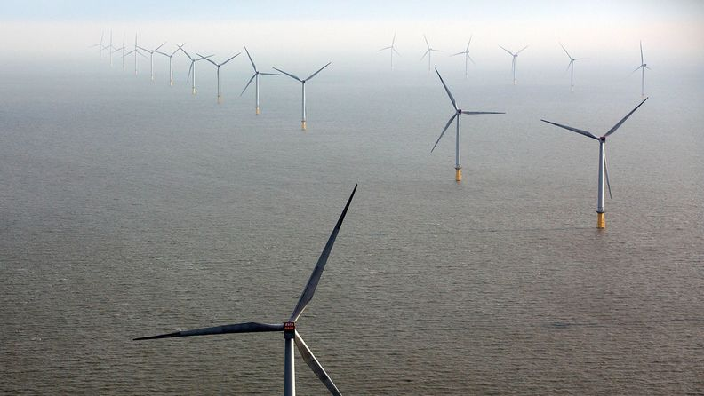 Wind turbines sit in the North Sea at the London Array offshore wind farm in the Thames Estuary, U.K.