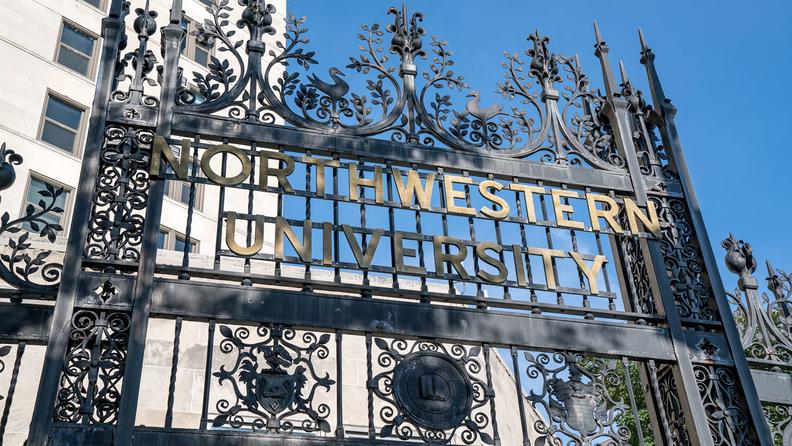 An entrance gate at Northwestern University in Evanston, Ill.