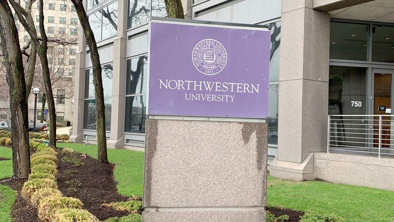 Northwestern University sign at a rainy day