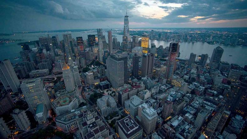 A panoramic view of New York City's skyline looking south to the Freedom Tower