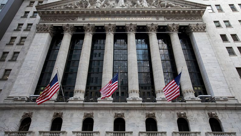 U.S. flags outside the New York Stock Exchange on Monday