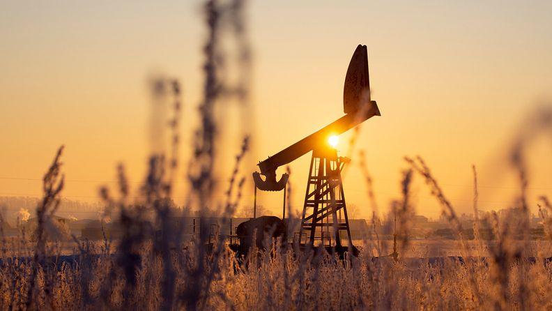 An oil pumping jack in an oil field in Russia