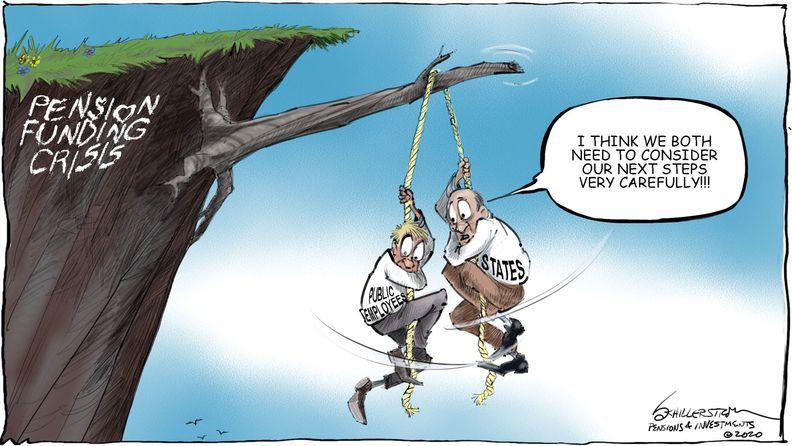 Pension funding cartoon