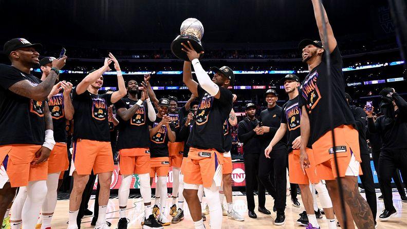 Phoenix Suns NBA team on a basketball court