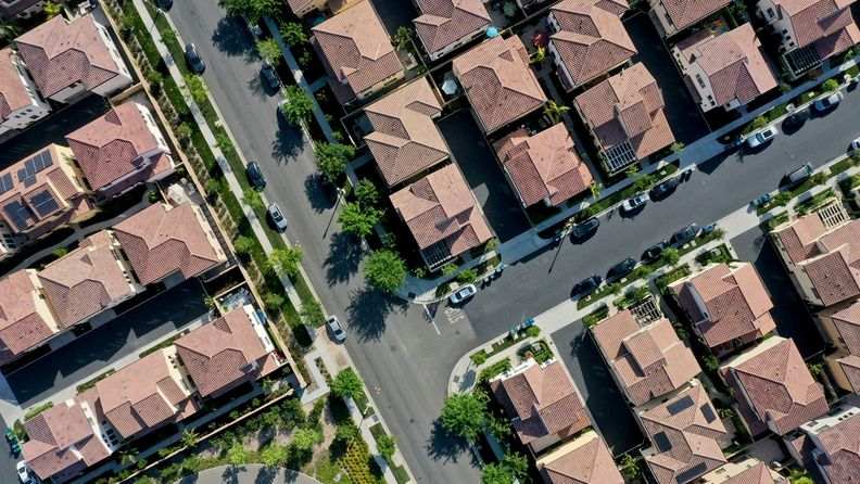 Homes in a planned residential community in an aerial photograph taken over Irvine, Calif.