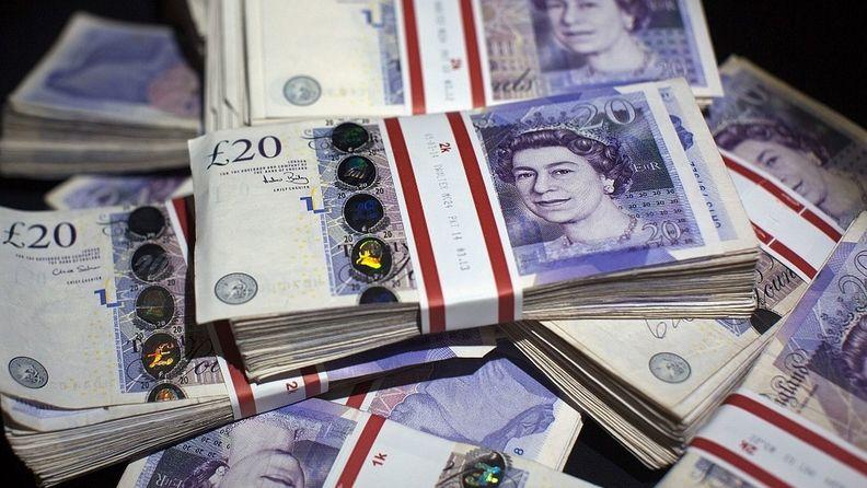 stacks of British £20 notes