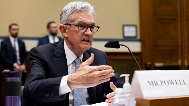 Jerome Powell, chairman of the Federal Reserve, speaks during a House subcommittee hearing
