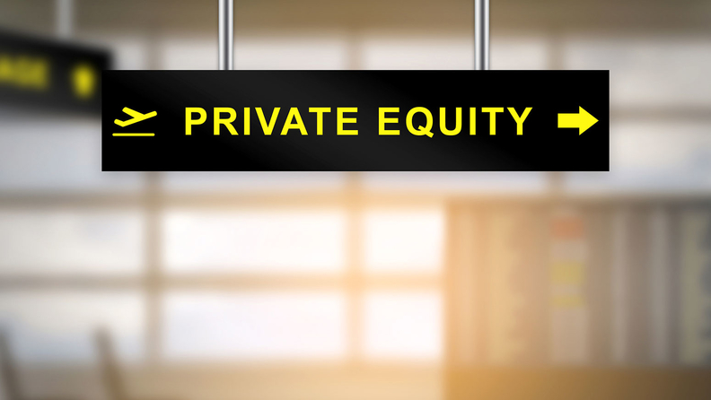 'Private equity' written on a placard that resembles an airport directional sign