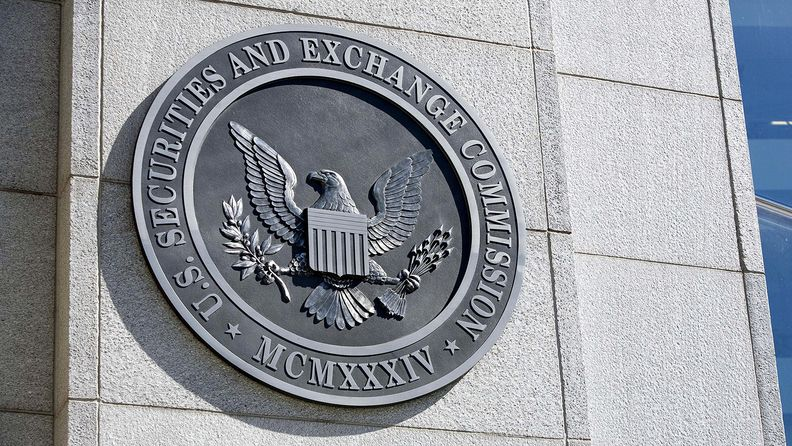 The seal of the Securities and Exchanges Commission at the agency's headquarters in Washington