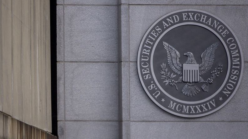 The Securities and Exchange Commission seal is displayed outside its headquarters in Washington