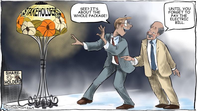 Shareholders vs. stakeholders cartoon
