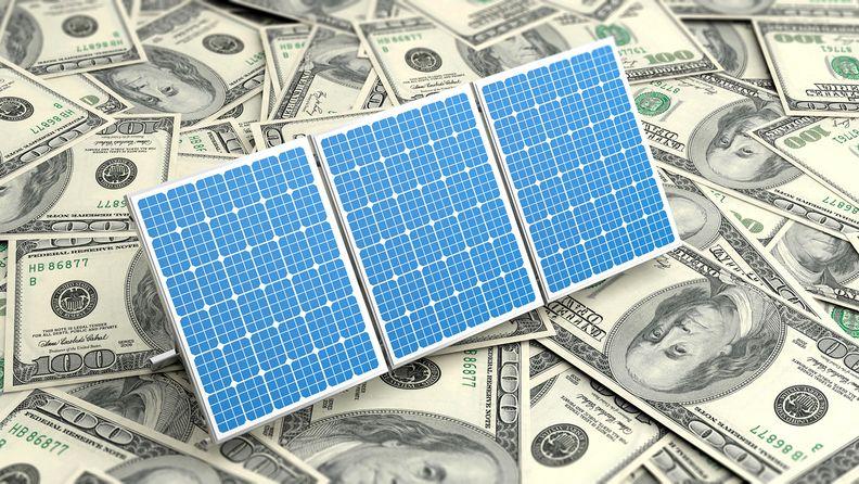 3d rendering solar panels on dollars banknotes