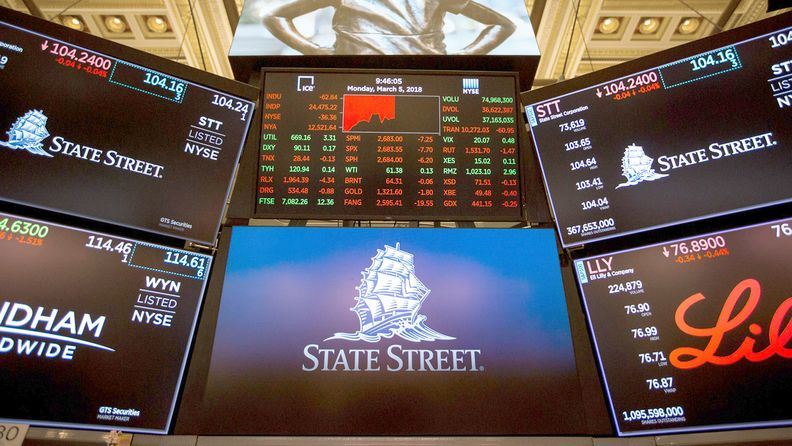 A monitor displays the State Street Corp. logo on the floor of the New York Stock Exchange