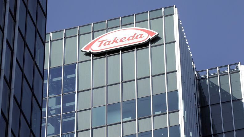 The Takeda Pharmaceutical Co. logo is displayed atop the company's global headquarters in Tokyo on Jan. 7, 2019